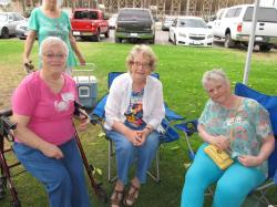 Sharon & Betty greet another first-time picnic attendee:  Kathy (Kirkpatrick) Crane -- all the way from Sacramento.
