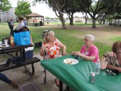 Susie (Johnson) Olivo and Sharon enjoy lunch.